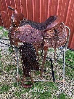 Vintage Leather stitched Western Horse Saddle w Tooling #030 Orrville