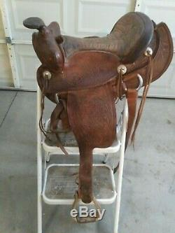 Vintage Tooled Western Saddle Bear Trap