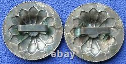 Vintage Visalia Stock Saddle Sterling Silver Western Bridle Rosettes Conchos