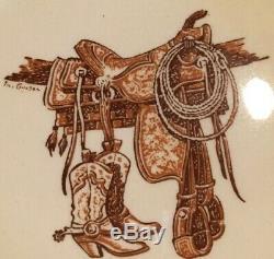 Vintage Westward Ho Boots & Saddle Plate Wallace China Western MID Century