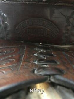 Vintage western Saddle, tooled, Well Made, slick Fork, brass Hardware