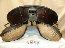 Vtg German Calvary Military Police Australian English Western Leather 17 Saddle