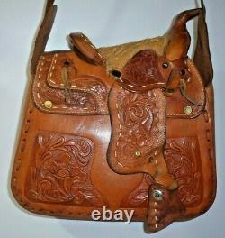 Vtg Hand Tooled Leather Cowgirl Mini Horse Saddle Purse Western Bag Equestrian