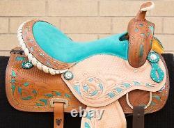 Western Horse Saddle Leather Barrel Racer Trail Show Tooled Tack Set Used 16