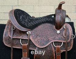 Western Horse Saddle Used Leather Amazingly Comfy Trail Tack 16 17
