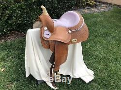 Western Leather Barrel Saddle 14 -15 Inches. California Saddle Company
