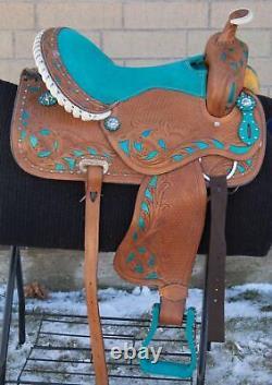 Western Leather Horse Saddle Pleasure Trail Barrel Racing Used Tack 15 16
