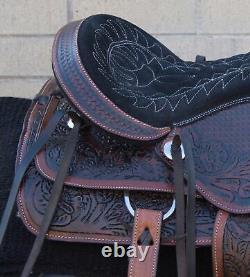 Western Pleasure Trail Saddle Used Leather Horse Tack Set 16 17