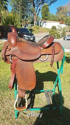 Western Saddle 15 inch Tex Tan Hereford Bran Basket Weave. In good condition