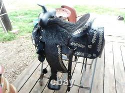 Western Saddle, Black Parade or Show with Matching Bridle