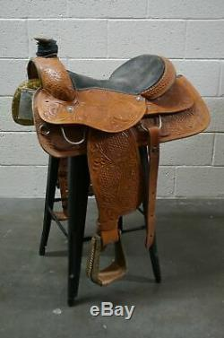 Western Star Saddle Shop, 16in Roping Saddle with Basket and other Tooling Tooli