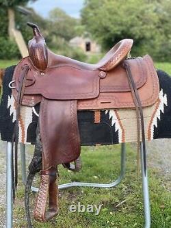 Western saddle by Bona Allen saddlery USA 16 inch seat Quarter Horse