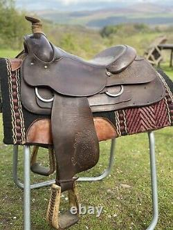 Western saddle by Tex Tan 16 inch Full quarter horse Roping