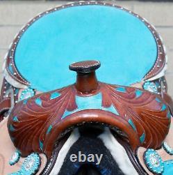 Youth Kids Used Western Horse Saddle Premium Leather Trail Barrel Tack Set 12 13